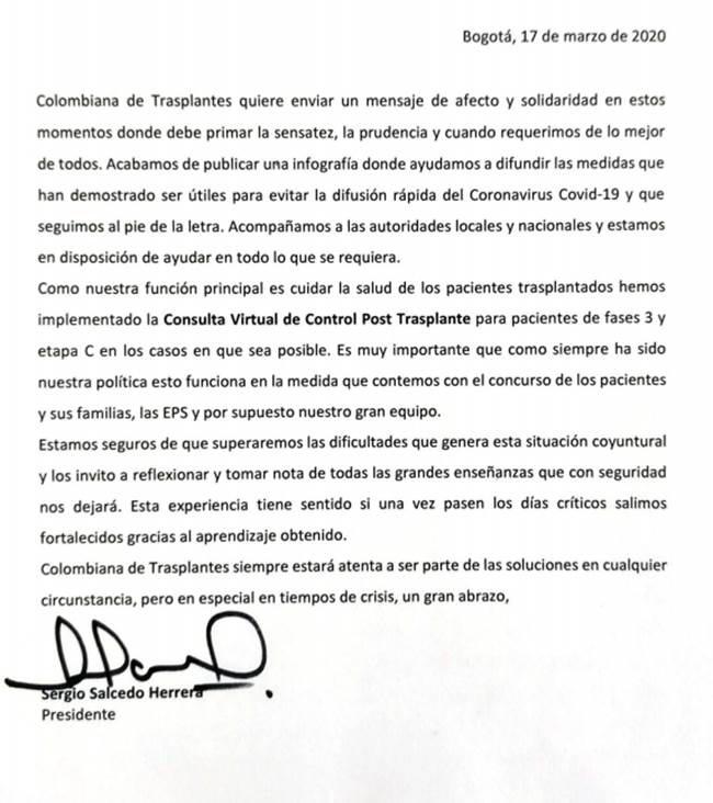 medidas creadas por Colombiana de trasplantes para garantizar la atención en salud a sus pacientes durante la cuarentena